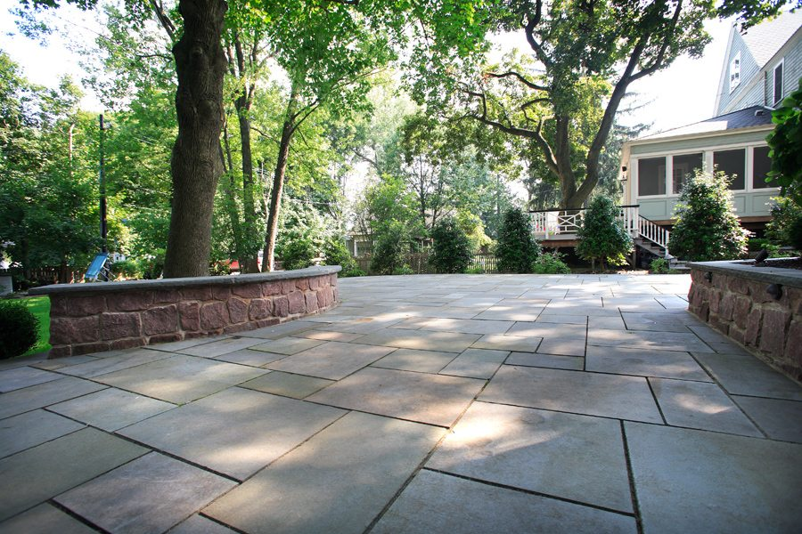 Bluestone Patio with Stone Walls in Montclair NJ