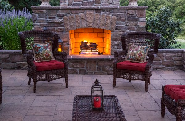 Outdoor Fireplace and Cambridge Stone Terrace