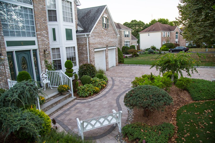 Paver Front Walkway and Landscaping in Morris County