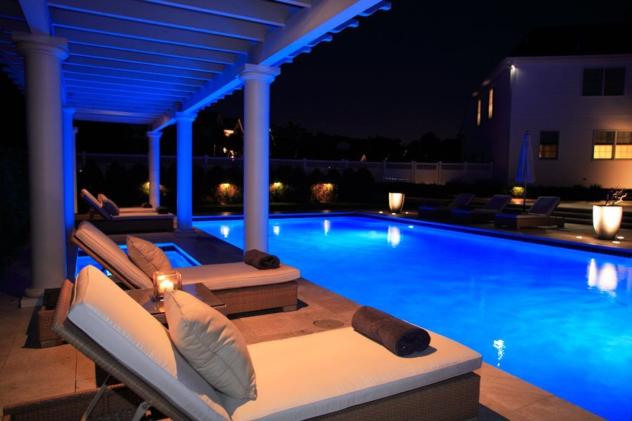 Illuminated Pool, Hot Tub, and Pergola