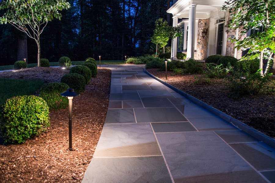Well Lit Bluestone Walkway