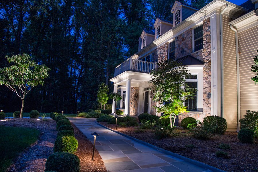 Bluestone walkway with landscape lighting and path lighting outdoor