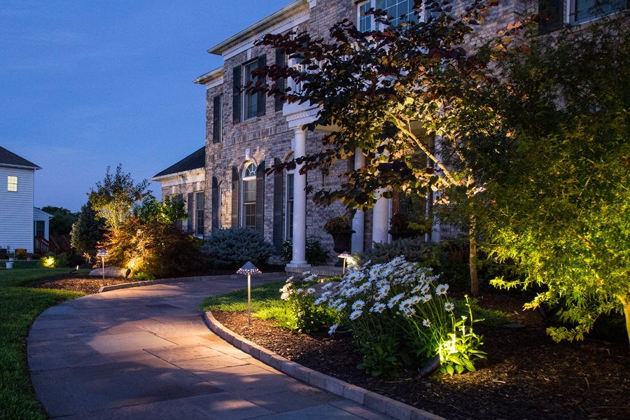 Landscape lighting gallery lakeland landscaping led landscape lighting at a home in mt olive nj mozeypictures Image collections