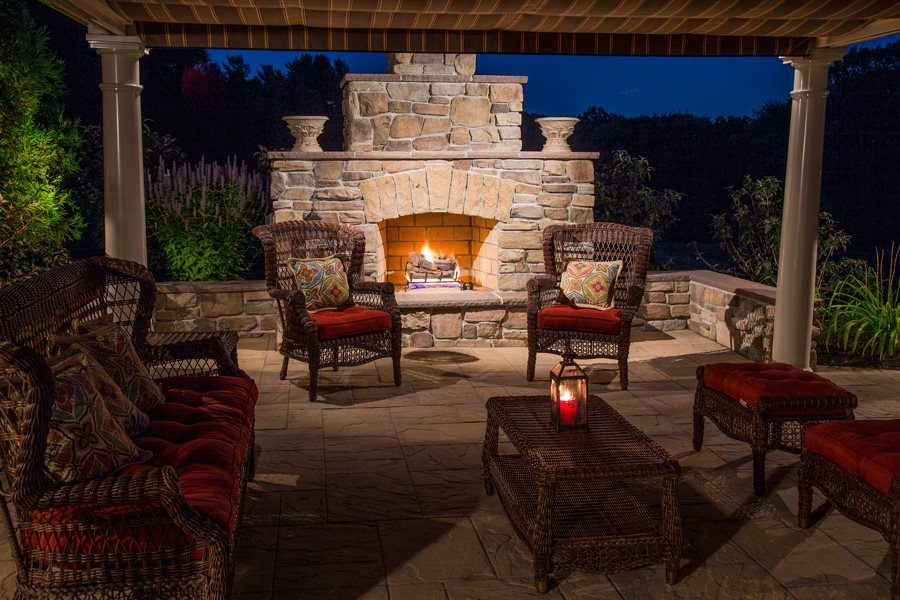 Patio with Stone Fireplace