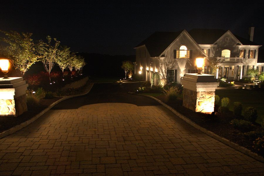 Nightscaping of Trees, Driveway and Pillars