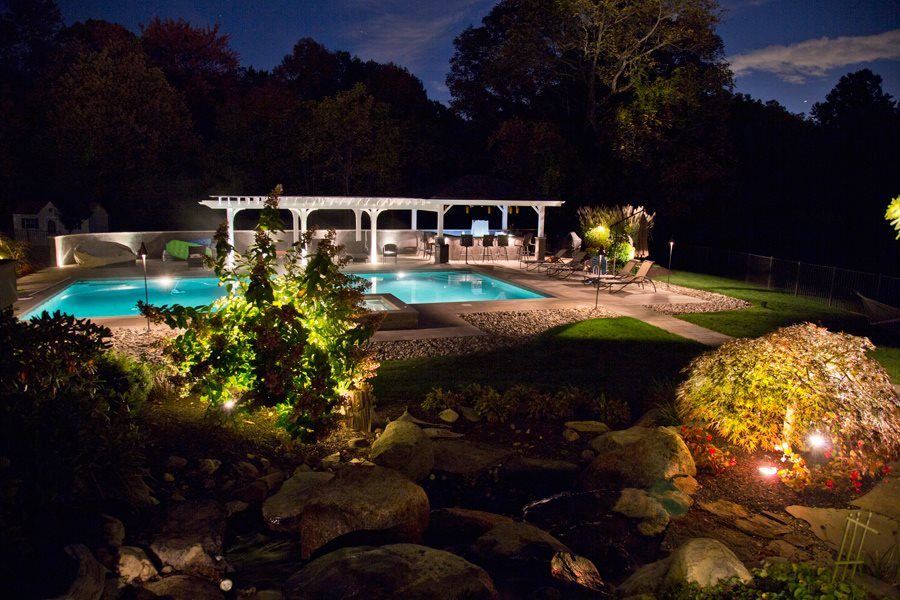 Lighting Accents on Ornamental Trees in Backyard