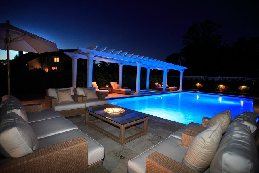 Pool Deck and Pergola at Night