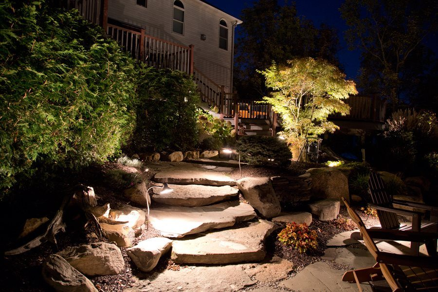 Outdoor Lighting for Natural Rock Steps
