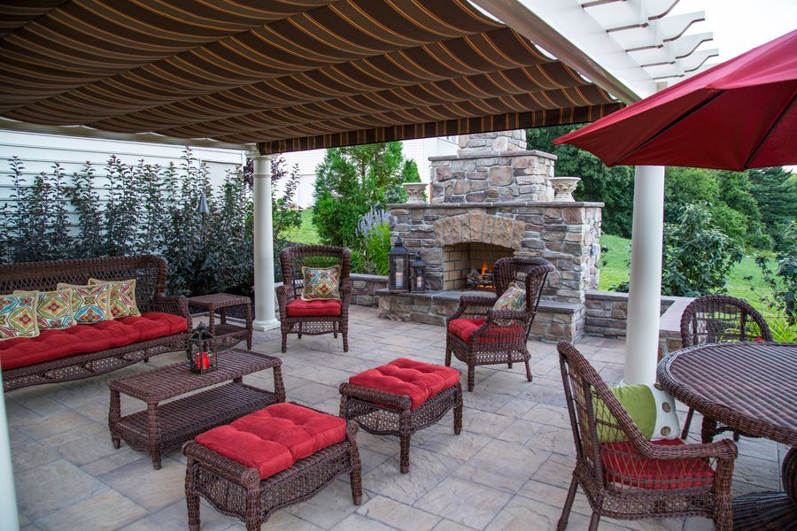 Outdoor Stone Fireplace and Patio