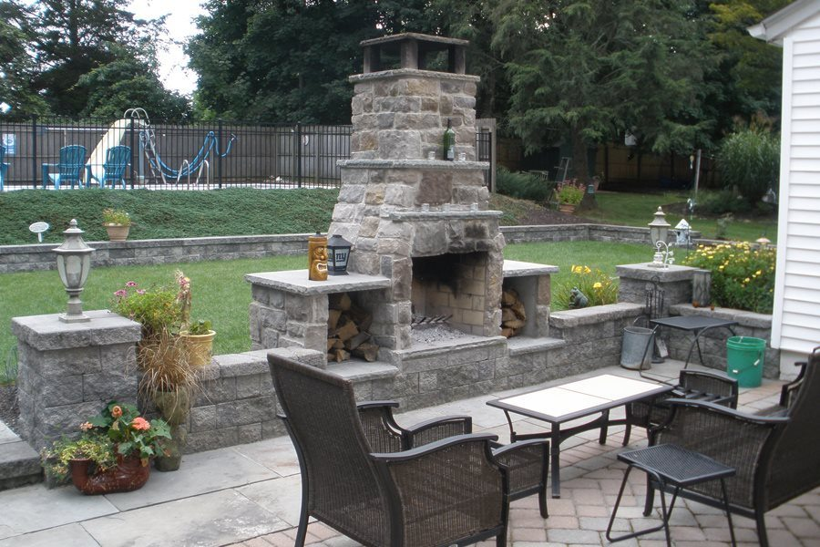Custom Stone Fireplace for Outdoor Entertaining