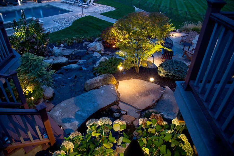 Pond with Natural Stone and LED Lighting